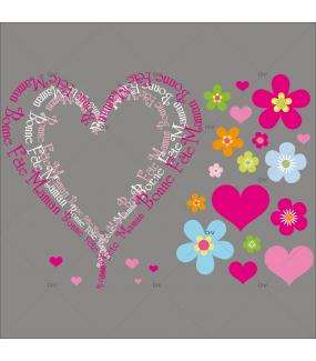 Sticker-texte-bonne-fête-maman-coeurs-et-fleurs-vitrophanie-décoration-vitrine-fête-des-mères-électrostatique-sans-colle-repositionnable-réutilisable-DECO-VITRES