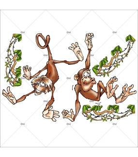 Sticker-singes-cartoon-animaux-vitrophanie-décoration-vitrine-exotique-estivale-électrostatique-sans-colle-repositionnable-réutilisable-DECO-VITRES