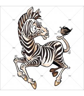 Sticker-zèbre-animaux-cartoon-exotique-vacances-tropical-été-vitrophanie-décoration-vitrine-électrostatique-sans-colle-repositionnable-réutilisable-DECO-VITRES