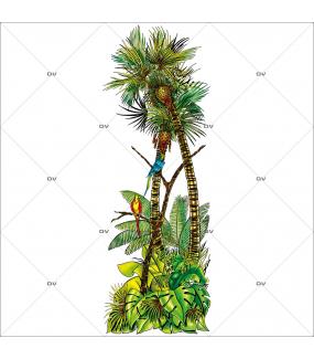 Sticker-palmier-et-perroquets-été-vitrophanie-décoration-vitrine-exotique-estivale-électrostatique-sans-colle-repositionnable-réutilisable-DECO-VITRES