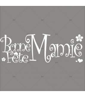Sticker-texte-bonne-fête-mamie-coeurs-et-fleurs-vitrophanie-décoration-vitrine-fête-des-grands-mères-électrostatique-sans-colle-repositionnable-réutilisable-DECO-VITRES