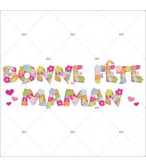 Sticker-bonne-fête-maman-fleurs-multicolores-texte-vitrophanie-décoration-vitrine-printanière-fête-mères-électrostatique-sans-colle-repositionnable-réutilisable-DECO-VITRES