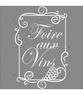 Sticker-foire-aux-vins-texte-cadre-retro-vitrophanie-décoration-vitrine-cave-caviste-bar-à-vins-restaurant-supermarché-électrostatique-sans-colle-repositionnable-réutilisable-DECO-VITRES