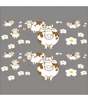 Sticker-frises-vaches-pâquerettes-printemps-été-vitrophanie-décoration-vitrine-boucherie-charcuterie-épicerie-fine-restaurant-électrostatique-sans-colle-repositionnable-réutilisable-DECO-VITRES