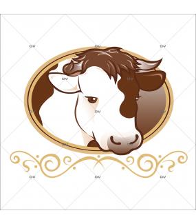 Sticker-tête-vache-médaillon-boeuf-vitrophanie-décoration-vitrine-boucherie-charcuterie-épicerie-fine-restaurant-électrostatique-sans-colle-repositionnable-réutilisable-DECO-VITRES