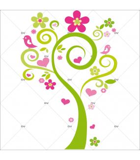 Sticker-arbre-coeurs-et-oiseaux-roses-chambre-enfant-bébé-mural-adhésif-encres-écologiques-latex-décoration-intérieure-DECO-VITRES
