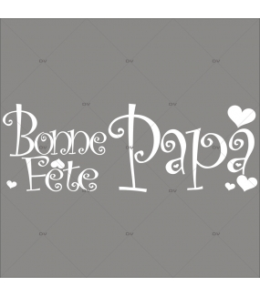 Sticker-bonne-fête-papa-coeurs-texte-blanc-vitrophanie-décoration-vitrine-fête-pères-électrostatique-sans-colle-repositionnable-réutilisable-DECO-VITRES