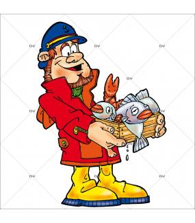 Sticker-pêcheur-poissons-qualité-vitrophanie-décoration-vitrine-poissonnerie-restaurant-supermarché-électrostatique-sans-colle-repositionnable-réutilisable-DECO-VITRES
