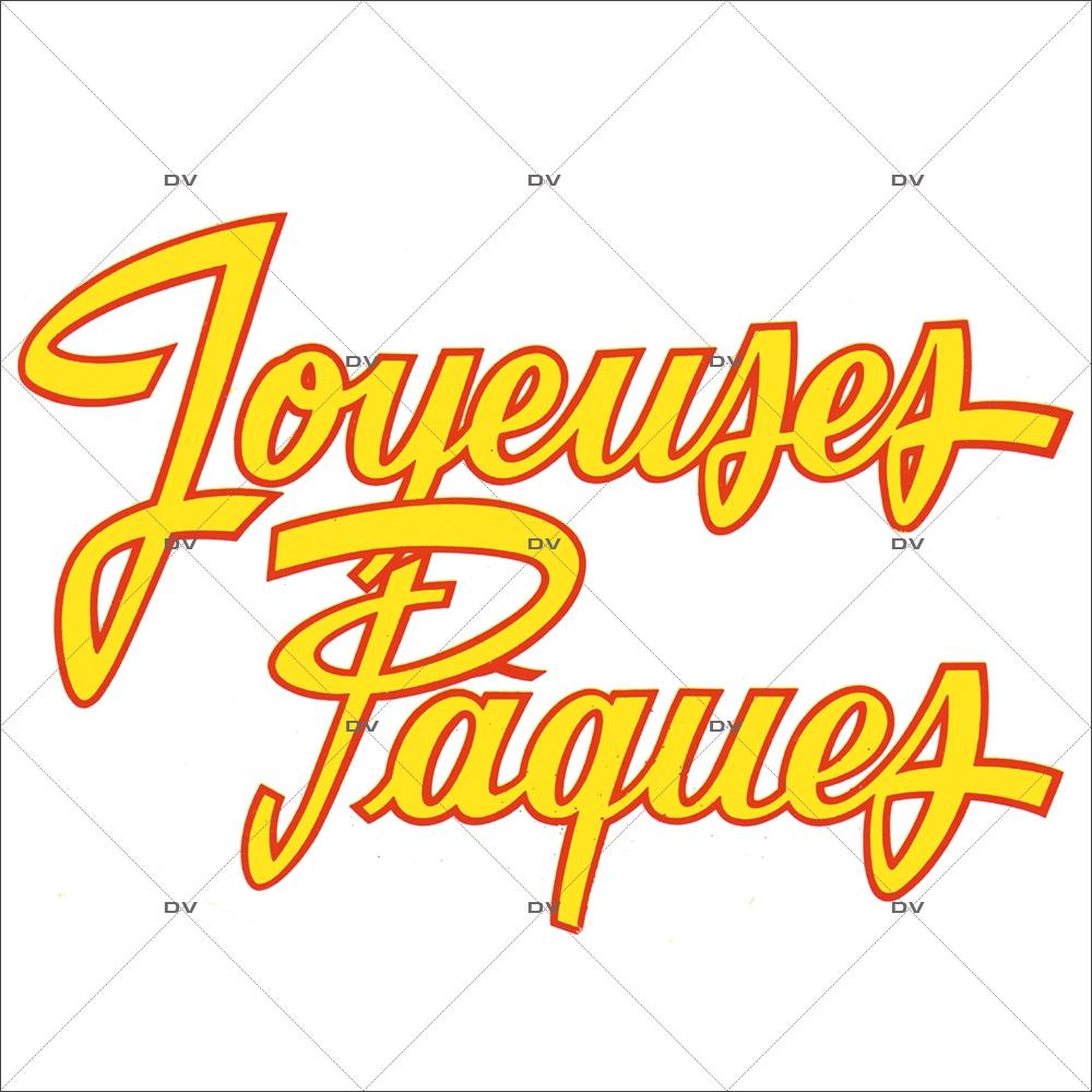 Sticker-texte-joyeuses-pâques-jaune-rouge-vitrophanie-décoration-vitrine-pâques-printanière-électrostatique-sans-colle-repositionnable-réutilisable-DECO-VITRES