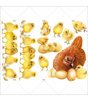 Sticker-poule-et-poussins-basse-cour-animaux-volailles-vitrophanie-décoration-vitrine-pâques-printanière-électrostatique-sans-colle-repositionnable-réutilisable-DECO-VITRES