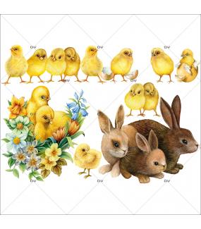 Sticker-lapins-et-poussins-basse-cour-animaux-vitrophanie-décoration-vitrine-pâques-printanière-électrostatique-sans-colle-repositionnable-réutilisable-DECO-VITRES