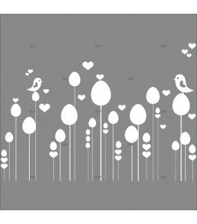 Sticker-frise-oeufs-et-oiseaux-blancs-vitrophanie-décoration-vitrine-pâques-printanière-électrostatique-sans-colle-repositionnable-réutilisable-DECO-VITRES