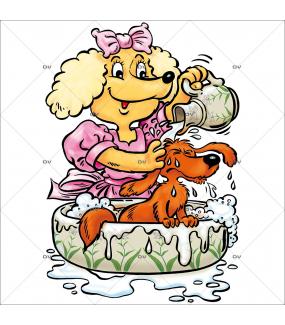 Sticker-chien-bassine-cartoon-toilettage-chien-vitrophanie-décoration-vitrine-toiletteur-électrostatique-sans-colle-repositionnable-réutilisable-DECO-VITRES