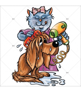 Sticker-chien-et-chat-séchoir-cartoon-toilettage-vitrophanie-décoration-vitrine-toiletteur-électrostatique-sans-colle-repositionnable-réutilisable-DECO-VITRES