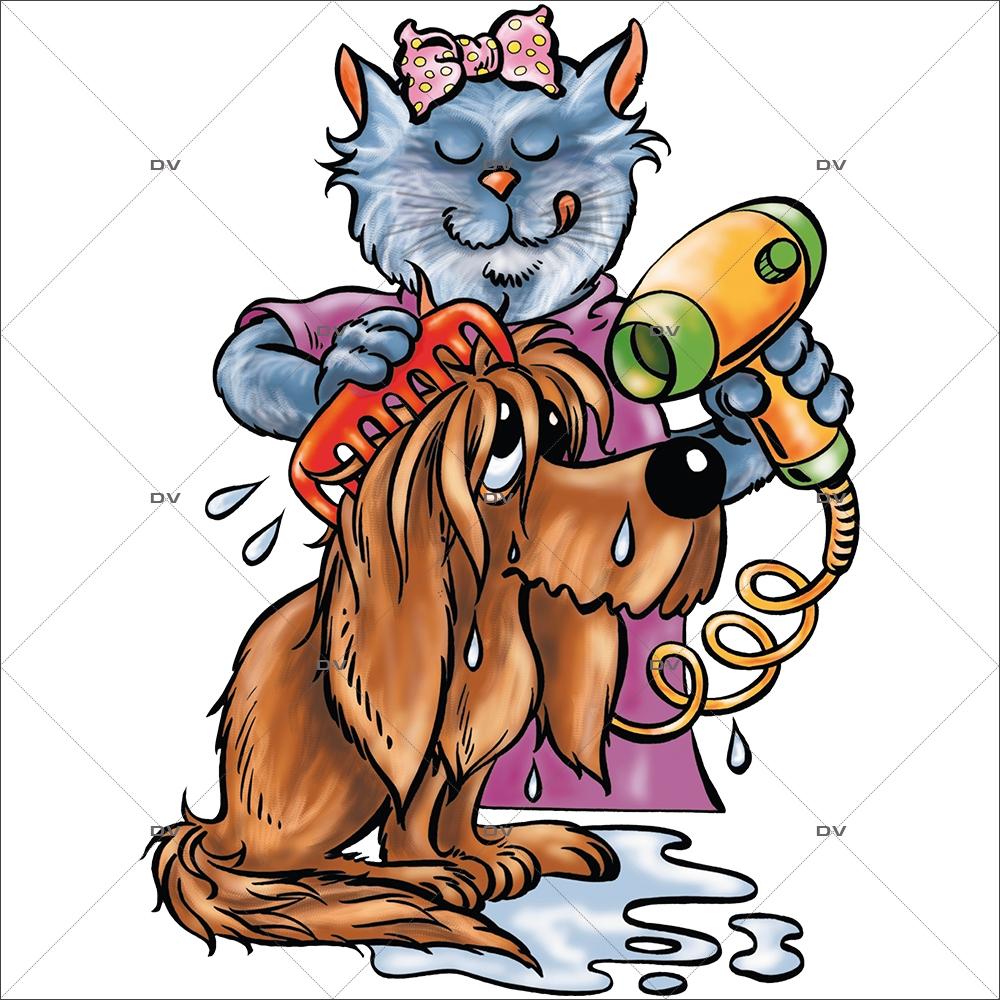 Sticker-chien-et-chat-séchoir-cartoon-toilettage-vitrophanie-décoration-vitrine-toiletteur-électrostatique-sans-colle-repositionnable-réutilisable-DECO-VITRES