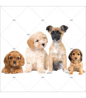 Sticker-frise-de-chiots-toilettage-chien-vitrophanie-décoration-vitrine-toiletteur-électrostatique-sans-colle-repositionnable-réutilisable-DECO-VITRES
