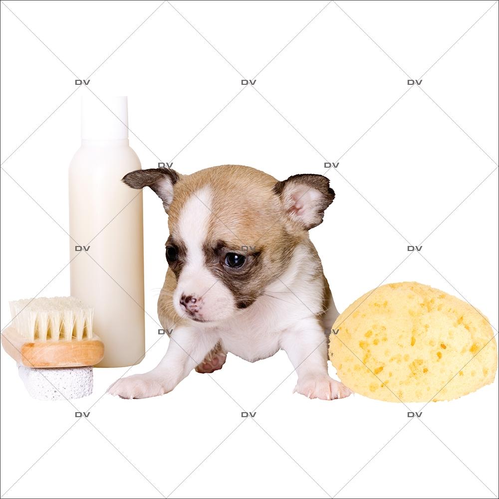 Sticker-chiot-et-accessoires-toilettage-chien-vitrophanie-décoration-vitrine-toiletteur-électrostatique-sans-colle-repositionnable-réutilisable-DECO-VITRES