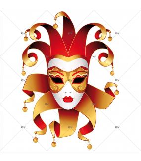 Sticker-masque-vénitien-grelots-joker-vitrophanie-décoration-vitrine-carnaval-électrostatique-sans-colle-repositionnable-réutilisable-DECO-VITRES