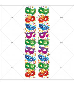 Sticker-frises-de-masques-vénitiens-multicolores-confetti-vitrophanie-décoration-vitrine-carnaval-électrostatique-sans-colle-repositionnable-réutilisable-DECO-VITRES