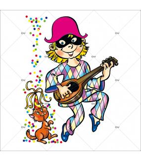 Sticker-arlequin-mandoline-confetti-vitrophanie-décoration-vitrine-carnaval-électrostatique-sans-colle-repositionnable-réutilisable-DECO-VITRES