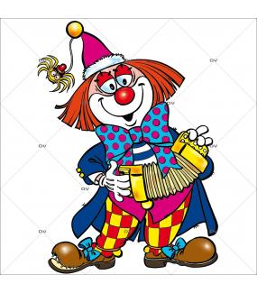 Sticker-clown-accordéon-vitrophanie-décoration-vitrine-carnaval-électrostatique-sans-colle-repositionnable-réutilisable-DECO-VITRES