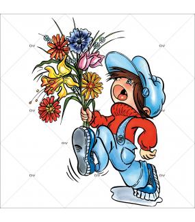 Sticker-garçon-bouquet-de-fleurs-maman-vitrophanie-décoration-vitrine-fête-mères-électrostatique-sans-colle-repositionnable-réutilisable-DECO-VITRES