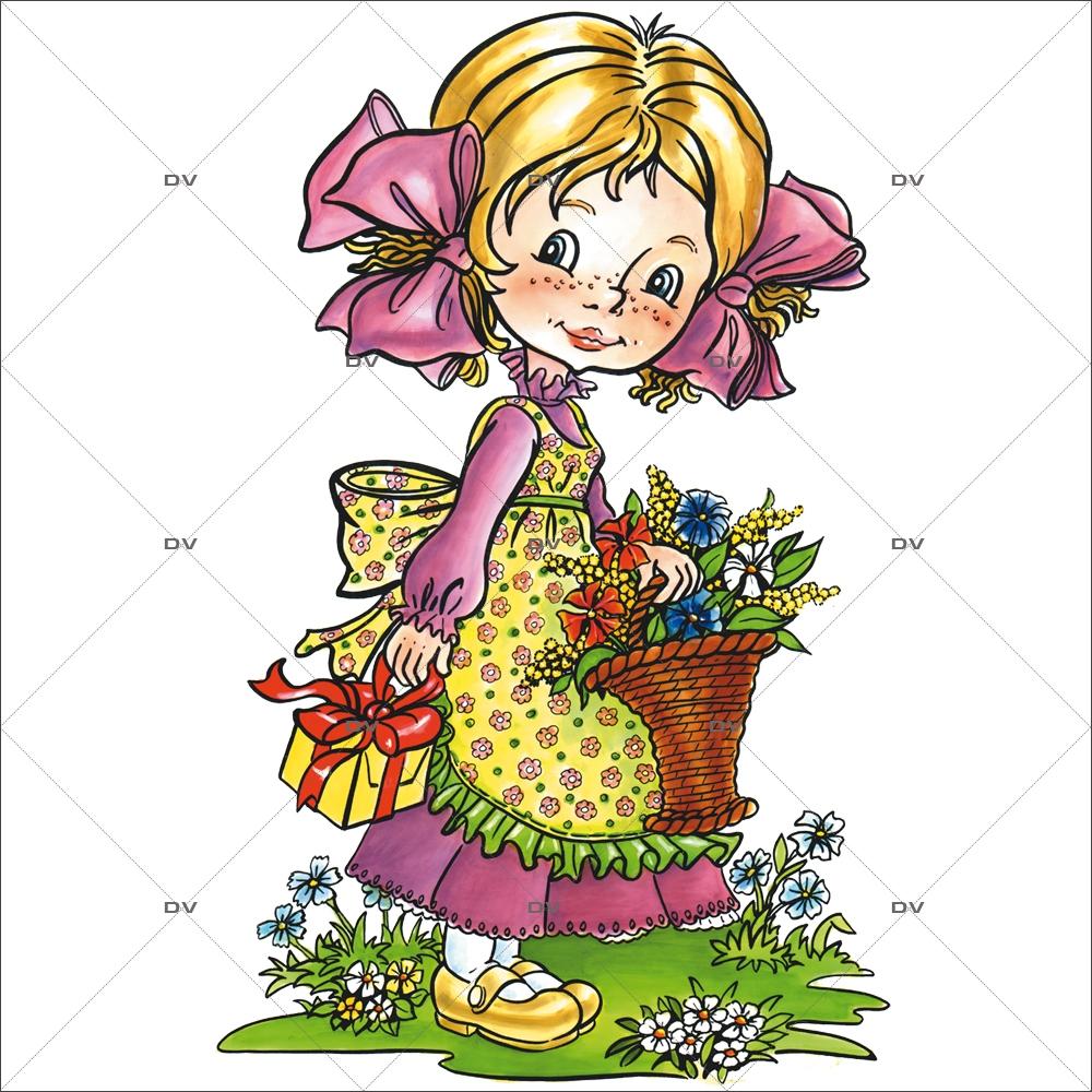 Sticker-fillette-panier-de-fleurs-paquet-cadeau-maman-papa-vitrophanie-décoration-vitrine-fête-mères-pères-électrostatique-sans-colle-repositionnable-réutilisable-DECO-VITRES