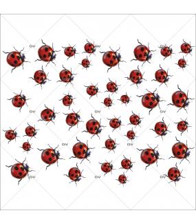 Sticker-coccinelles-animaux-insectes-vitrophanie-décoration-vitrine-estivale-électrostatique-sans-colle-repositionnable-réutilisable-DECO-VITRES