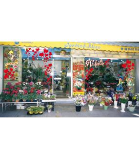 Sticker-amoureux-bouquet-fleurs-et-bijou-vitrophanie-décoration-vitrine-saint-valentin-électrostatique-sans-colle-repositionnable-réutilisable-DECO-VITRES