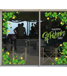 photo-décoration-vitrine-stickers-trèfles-texte-happy-st-patrick's-day-ruban-vitrophanies-électrostatiques-DECO-VITRES