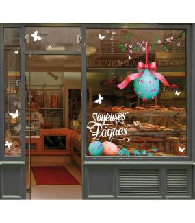 photo-décoration-vitrine-sticker-oeuf-de-paques-ruban-branche-cerisier-en-fleurs-vitrophanie-electrostatique-DECO-VITRES