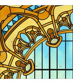 détail-sticker-vitrail-art-nouveau-rosace-electrostatique-ou-adhesif-DECO-VITRES