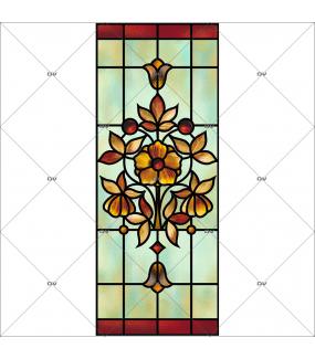 Sticker-vitrail-art-nouveau-retro-vintage-fleur-vitrophanie-électrostatique-ou-adhésif-décoration-fenêtres-DECO-VITRES