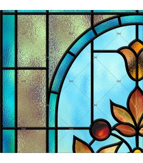 Sticker-vitrail-fleur-art-deco-retro-vintage-vitrophanie-électrostatique-ou-adhésif-décoration-fenêtres-DECO-VITRES