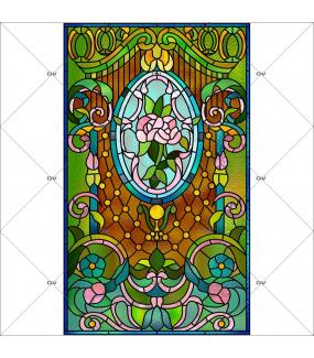 Sticker-vitrail-art-nouveau-retro-vintage-roses-médaillon-vitrophanie-électrostatique-ou-adhésif-décoration-fenêtres-DECO-VITRES