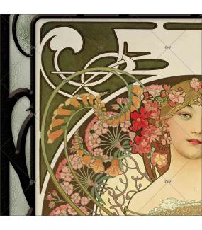 Sticker-vitrail-Mucha-fleurs-art-nouveau-retro-rêverie-vitrophanie-électrostatique-ou-adhésif-décoration-fenêtres-DECO-VITRES
