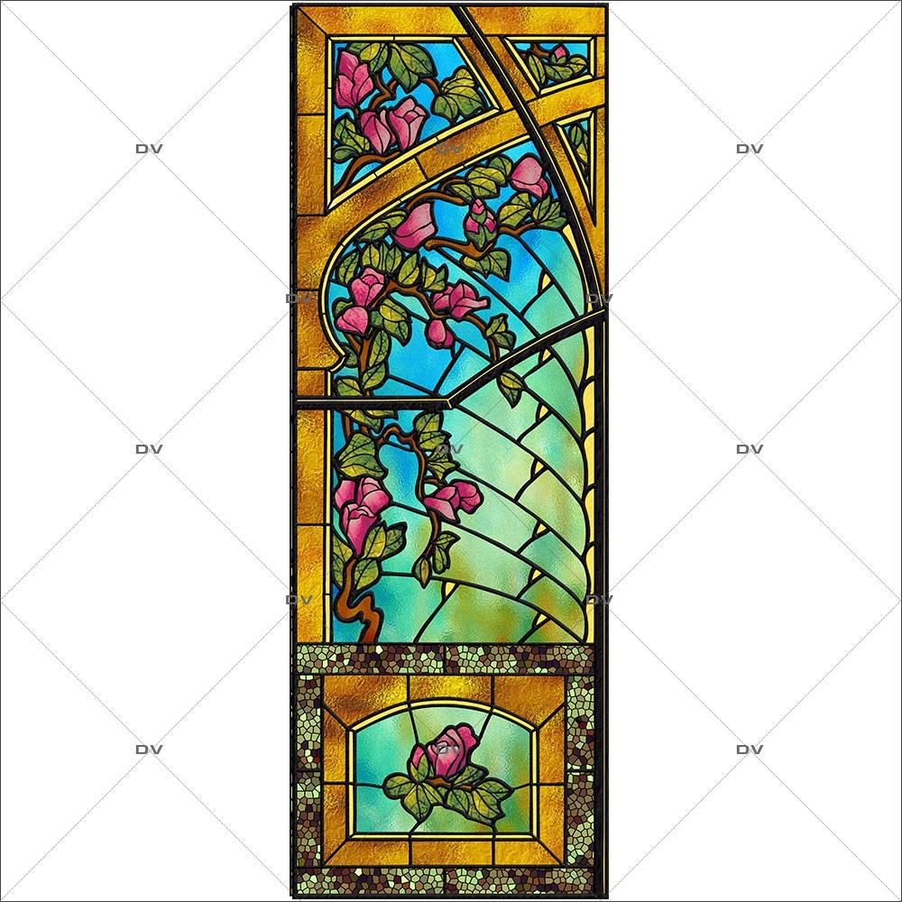 sticker-vitrail-art-deco-arcades-roses-nature-retro-vitrophanie-électrostatique-ou-adhésif-décoration-fenêtres-DECO-VITRES