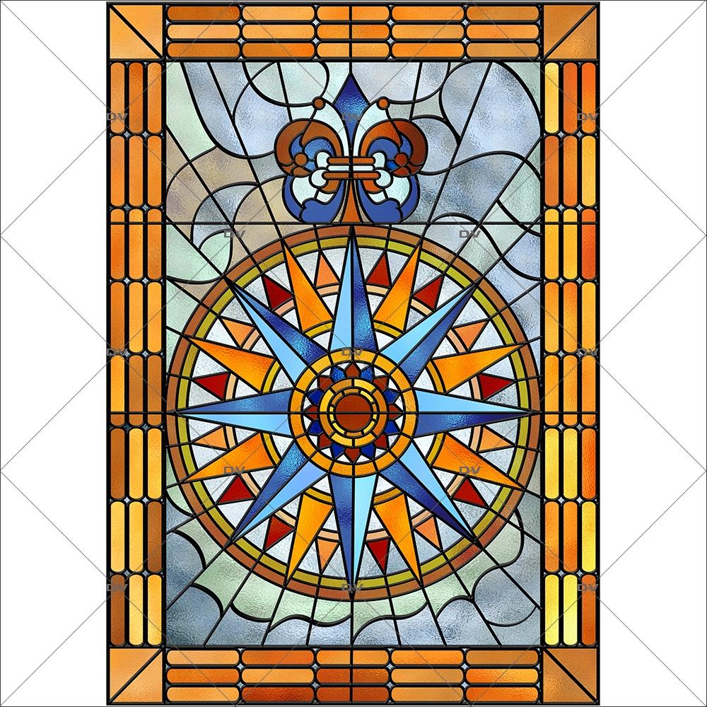 Sticker-vitrail-rose-des-vents-retro-vintage-vitrophanie-électrostatique-ou-adhésif-décoration-fenêtres-DECO-VITRES