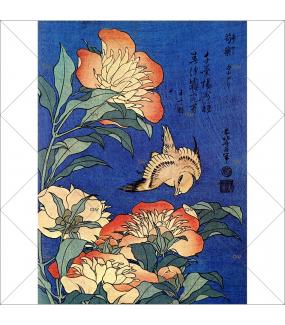 Sticker-vitrail-Hokusai-pivoines-oiseaux-Japon-vitrophanie-électrostatique-ou-adhésif-décoration-fenêtres-DECO-VITRES