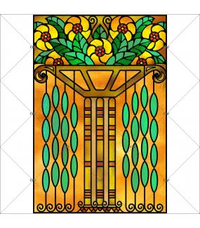 Sticker-vitrail-art-deco-retro-vintage-fleurs-vitrophanie-électrostatique-ou-adhésif-décoration-fenêtres-DECO-VITRES