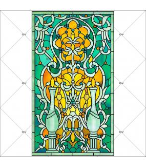 Sticker-vitrail-chandelle-art-nouveau-vitrophanie-électrostatique-ou-adhésif-décoration-fenêtres-DECO-VITRES