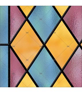 Sticker-vitrail-géométrique-losanges-bleu-rose-jaune-retro-électrostatique-sans-colle-ou-adhésif-décoration-fenêtres-DECO-VITRES