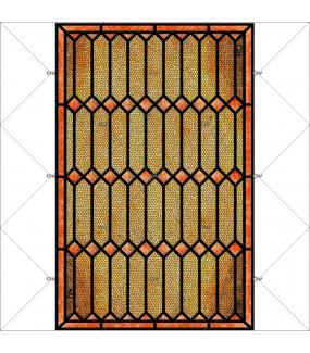 Sticker-vitrail-géométrique-jaune-orange-vintage-retro-électrostatique-sans-colle-ou-adhésif-décoration-fenêtres-DECO-VITRES