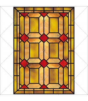 Sticker-vitrail-géométrique-ancien-vintage-retro-vitrophanie-électrostatique-sans-colle-ou-adhésif-DECO-VITRES