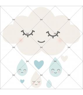 sticker-chambre-bébé-nuage-et-soleils-rieurs-coeurs-bleu-garcon-tissu-adhesif-enlevable-encres-ecologiques-DECO-VITRES