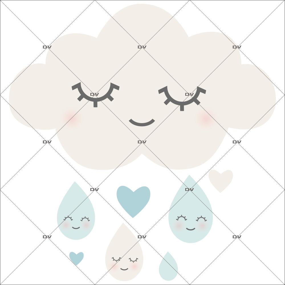 Sticker enfant nuage doux rêves - Tissu adhésif enlevable - DECO-VITRES