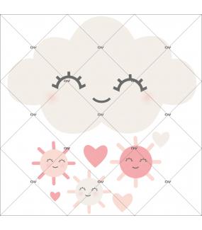 sticker-chambre-bébé-nuage-et-soleils-rieurs-coeurs-rose-fille-tissu-adhesif-enlevable-encres-ecologiques-DECO-VITRES-ST123