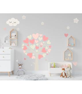 stickers-chambre-bebe-tissu-sans-pvc-encres-ecologiques-enfant-nuages-etoiles-coeurs-arbre-fille-DECO-VITRES