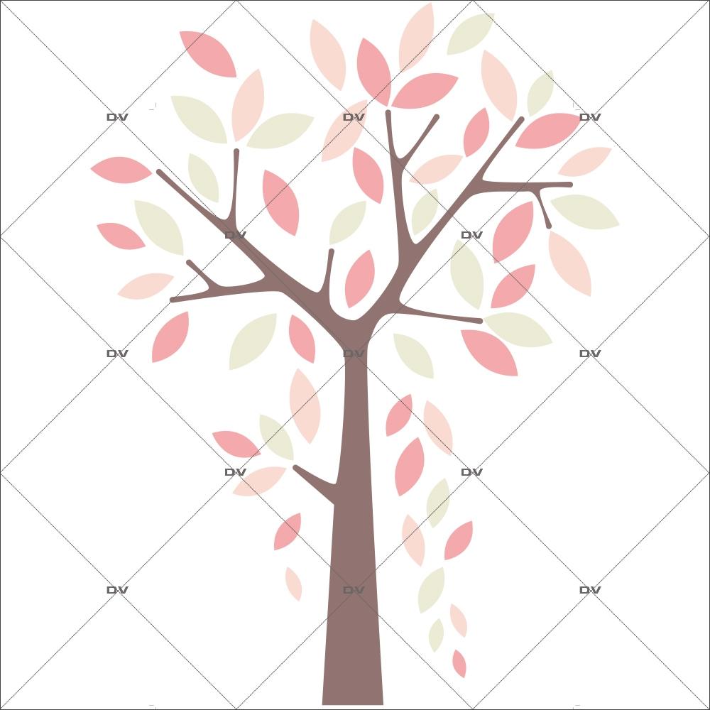 Sticker arbre pluie de feuilles - Tissu adhésif enlevable - Sans PVC