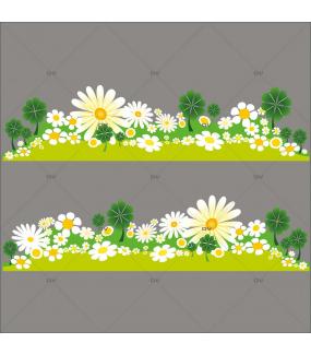 Sticker-frises-marguerites-pâquerettes-trèfles-fleurs-printemps-été-vitrophanie-décoration-vitrine-estivale-printanière-électrostatique-sans-colle-repositionnable-réutilisable-DECO-VITRES